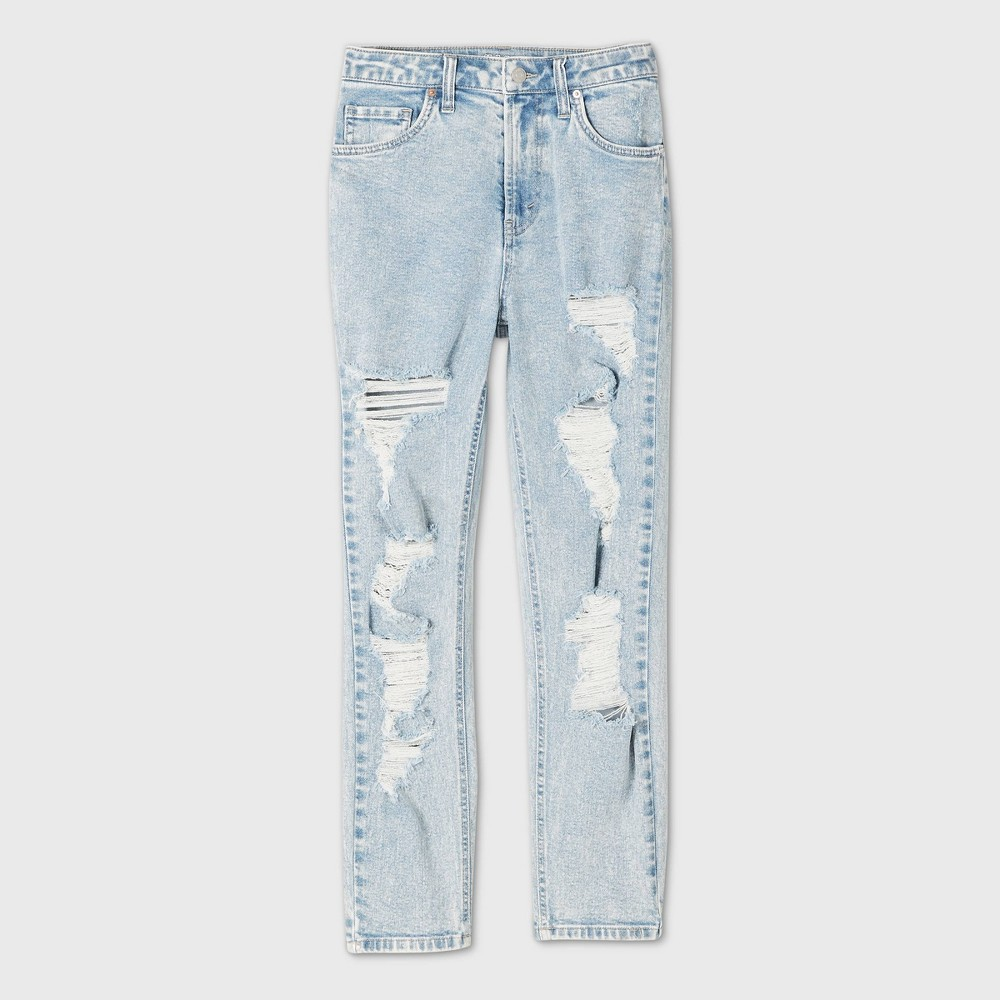 Cheap Women's Plus Size High-Rise Distressed Mom Jeans - Wild Fable™ Light Wash