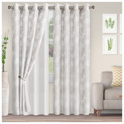 Lightweight Floral Embroidered Semi-Sheer 2-Piece Curtain Panel Set with Stainless Grommet Header - Blue Nile Mills