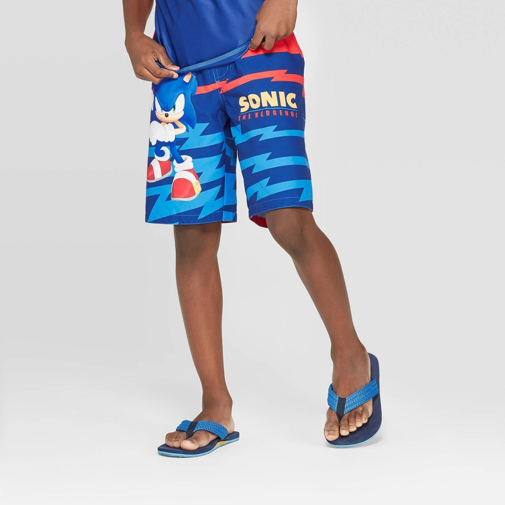 Image of Boys' Sonic the Hedgehog Swim Trunks - Blue M, Boy's, Size: Medium, Red