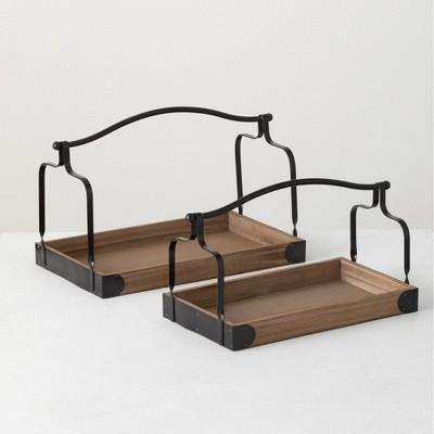 "Sullivans Set Of 2 Wooden Trays 10""H & 8.25""H Brown"