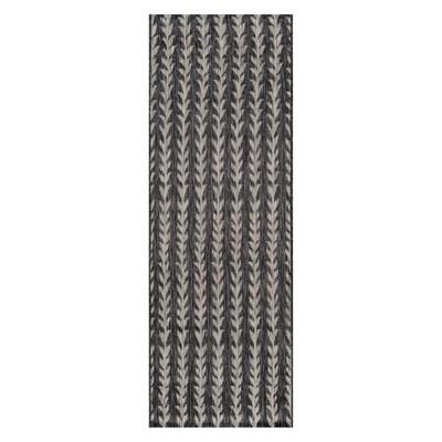 2'7 X7'6  Stripe Loomed Runner Charcoal - Novogratz By Momeni