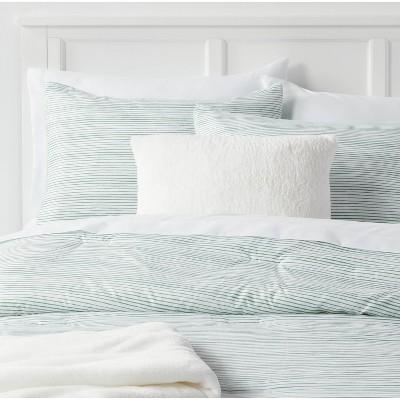 5pc Full/Queen Stripe Decorative Reversible Comforter Set Light Green - Room Essentials™