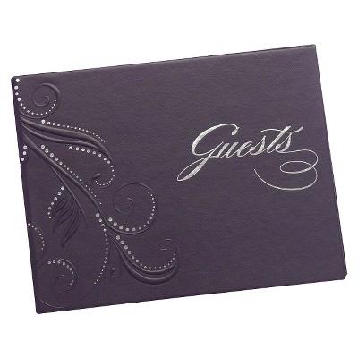 Purple Swirl Dots Wedding Guest Book