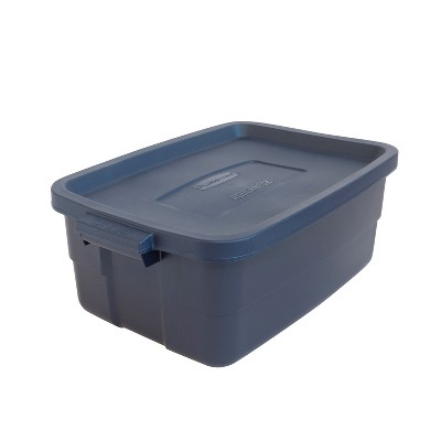 Rubbermaid Roughneck 10 Gallon Plastic Tote Container Bin with Stay Tight Lid for Rugged, Reusable, Stackable Storage, Dark Indigo Metallic (16 Pack)