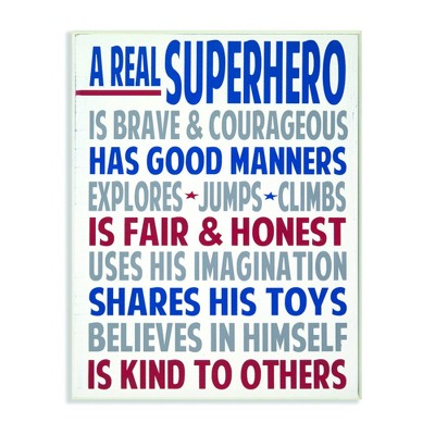 Typography Art Wall Plaque A Real Superhero Wall Plaque Art (10 x15 x0.5 )- Stupell Industries