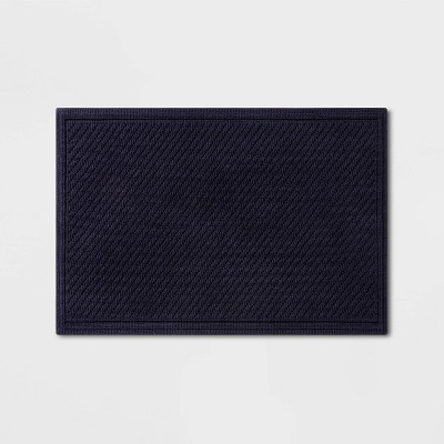 "21""x30"" Performance Solid Bath Mat Navy Blue - Threshold™"