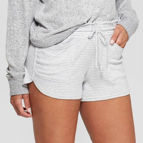 Women's Striped Perfectly Cozy Lounge Pajama Shorts - Stars Above™ Gray - image 1 of 2