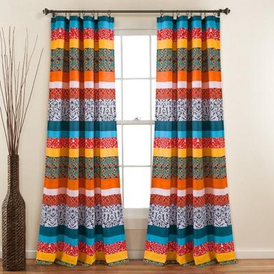 Set of 2 Boho Stripe Light Filtering Window Curtain Panels Blue/Orange - Lush Décor
