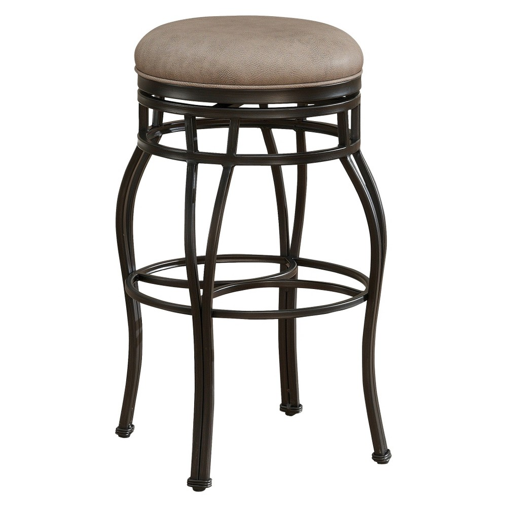 Bella Backless Swivel Bonded Leather 26 Counter Stool Steel - American Heritage Billiards, Camel