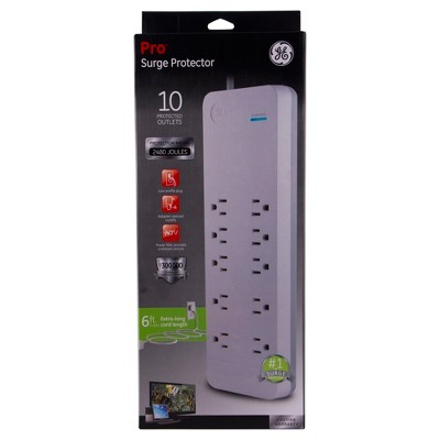 GE Pro Surge Protector, 10 Outlets 2480J 6Ft. Cord - White