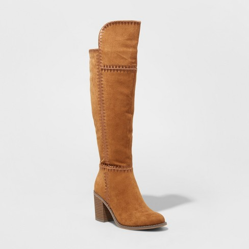 Women's Alica Stitch Detail Riding Fashion Boots - Universal Thread™ Cognac 8 - image 1 of 3