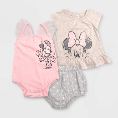 Baby Girls' 3pc Minnie Mouse Bodysuit Set - Gray 3-6M