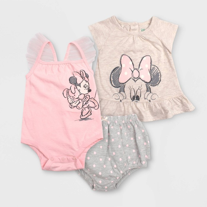 Baby Girls' 3pc Minnie Mouse Bodysuit Set - Gray - image 1 of 1