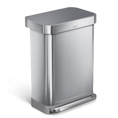 simplehuman 55L Rectangular Liner Rim Steel Step Trash Can with Gray Plastic Lid