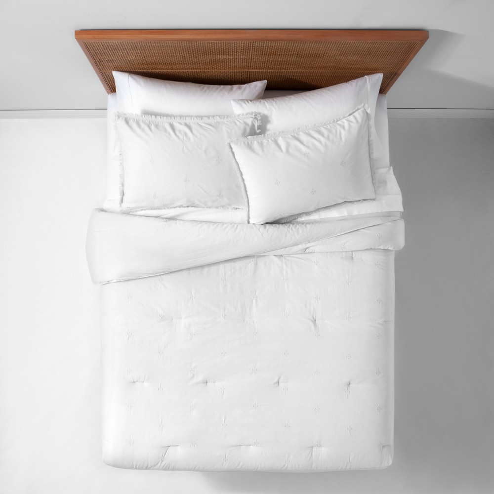 White Garment Washed Embroidered Comforter Set (King) - Opalhouse