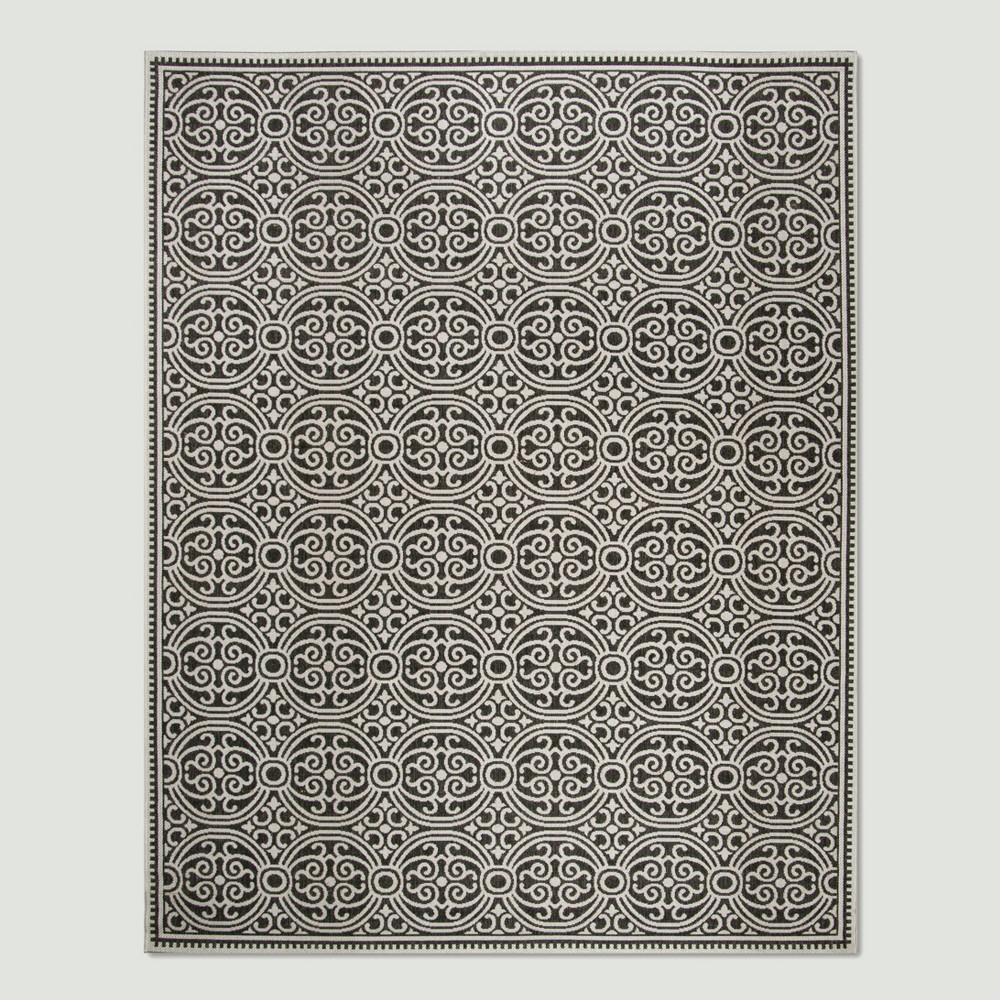 7'10 x 10' Vita Outdoor Rug Light Gray/Charcoal - Safavieh