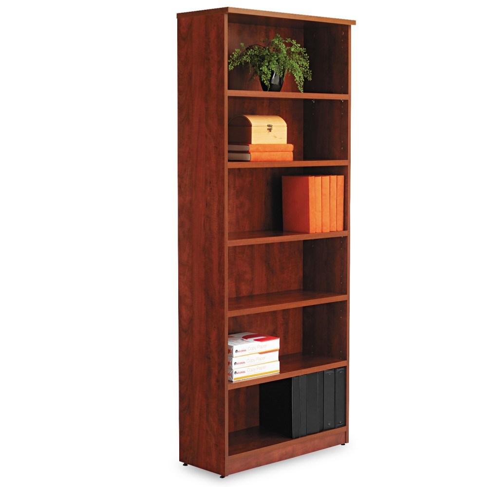 Image of Alera Valencia Series Bookcase, Six-Shelf, 31 3/4w x 14d x 80 3/8h, Med Cherry