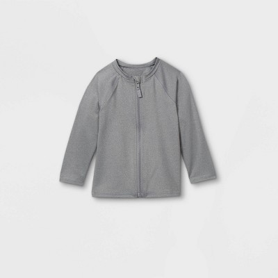 Toddler Boys' Zip-Up Long Sleeve Rash Guard Swim Shirt - Cat & Jack™ Heather Gray