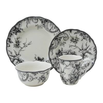 16pc Porcelain Adelaide Dinnerware Set Black - 222 Fifth