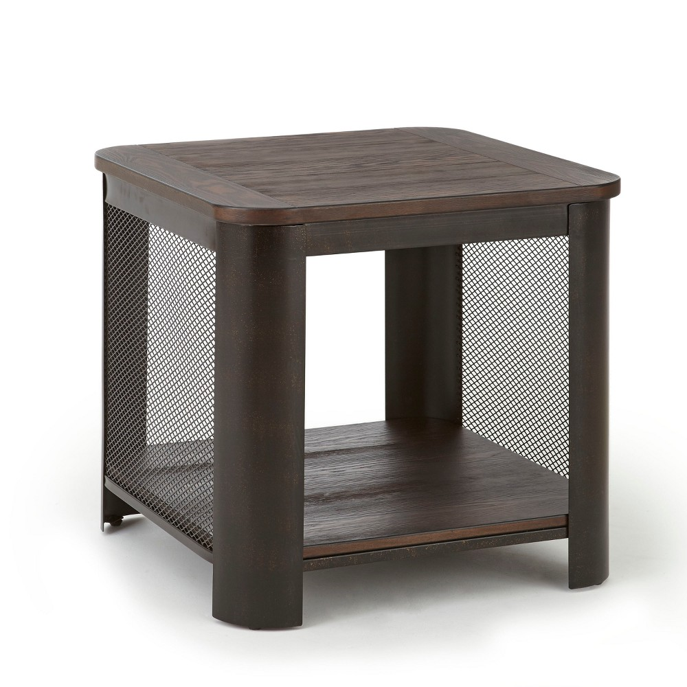 Barrow End Table Industrial with Iron Base - Steve Silver