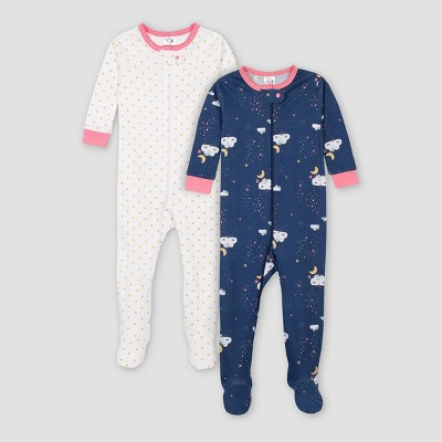 Gerber Baby Girls' 2pk Dreams Footed Pajama - Blue 6M