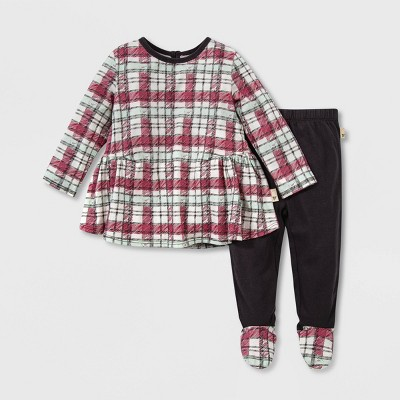Burt's Bees Baby® Baby Girls' Organic Cotton Cozy Harvest Plaid Tunic and Footed Pants Set - Light Green 6M