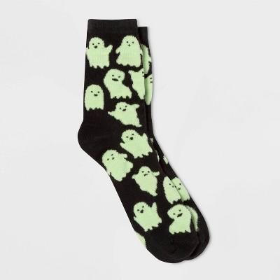 Women's Glow In The Dark Ghost Halloween Crew Socks   Black One Size by Target