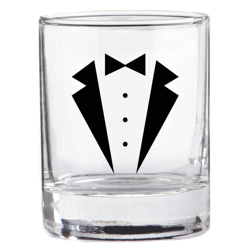 4ct Kate Aspen Tuxedo Shot Glass, Clear