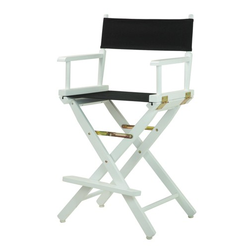 Counter-Height Director's Chair - White Frame, Black Canvas