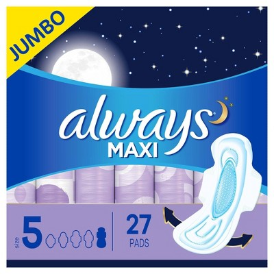 Always Maxi Extra Heavy Overnight Pads with Wings - Size 5 - 27ct