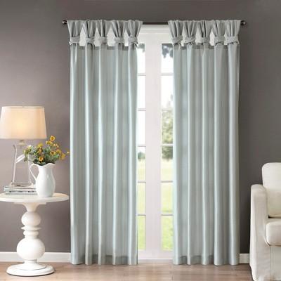 Lillian Twisted Tab Lined Curtain Panel Dusty Aqua 50 x95