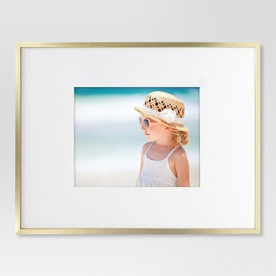 "14"" x 18"" Matted to 8"" x 10"" Thin Metal Gallery Frame Brass - Project 62™"
