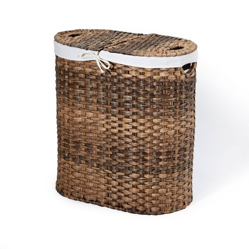 Seville Classics Hand-Woven Oval Double Laundry Hamper With Liner Natural Brown - image 1 of 4