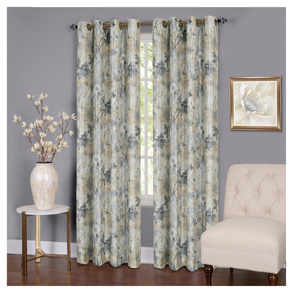 Tranquil Grommet Lined Curtain Panel Silver (50