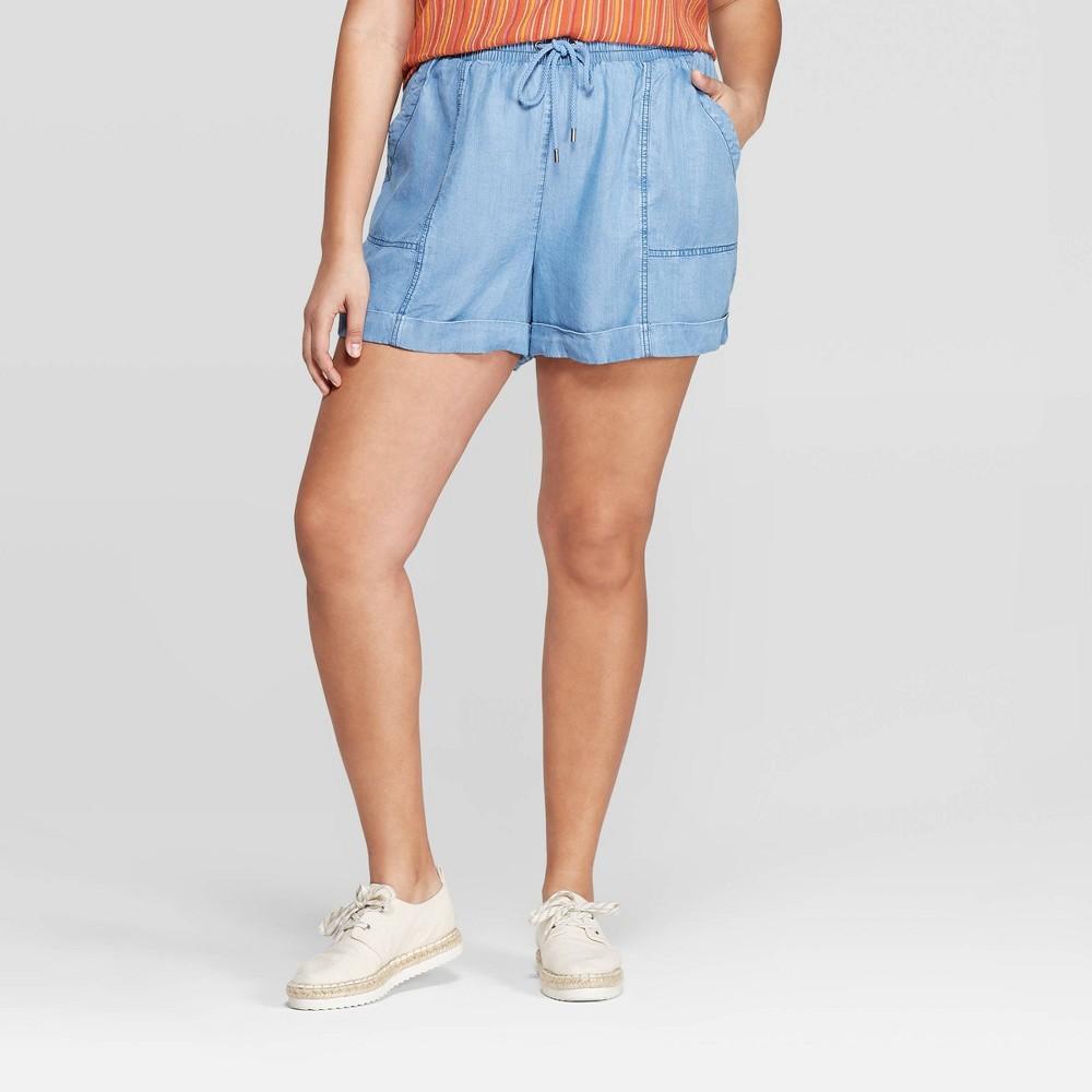 Women's Plus Size Mid-Rise Utility Shorts - Universal Thread Indigo (Blue) 3X