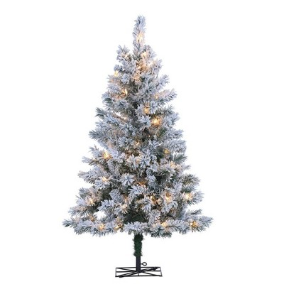 4ft Sterling Tree Company Flocked Colorado Spruce with 100 Clear Lights Artificial Christmas Tree