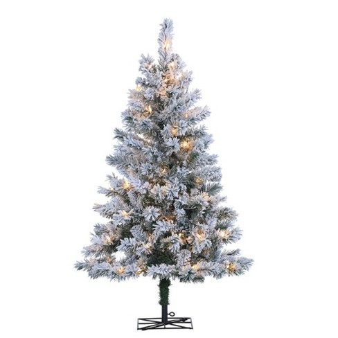 4ft Sterling Tree Company Flocked Colorado Spruce with 100 Clear Lights Artificial Christmas Tree - image 1 of 3