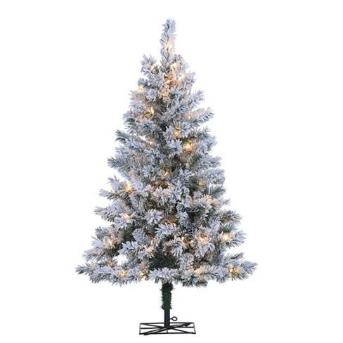 Slim Flocked Christmas Tree With Lights.4ft Sterling Tree Company Flocked Slim Colorado Spruce With 100 Clear Lights Artificial Christmas Tree