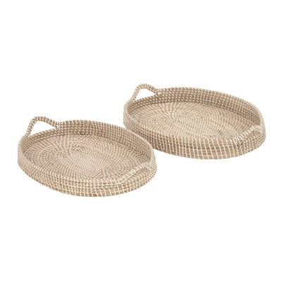 Set of 2 Oval Natural Seagrass Trays with Handles White/Brown - Olivia & May