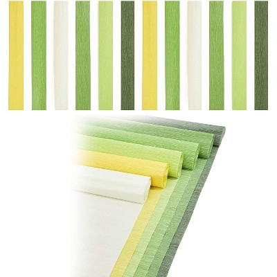 12-Pack Decorative Crepe Paper Rolls for Party Decorations, DIY Flowers Sheets, Shades of Green, Each Roll 16.5 in x 8.2 ft