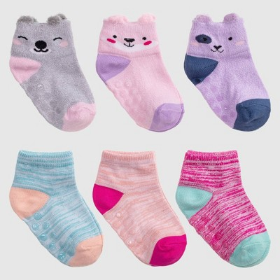 Baby 6pk Animal Print Low Cut Socks with Grippers - Cat & Jack™ 12-24M