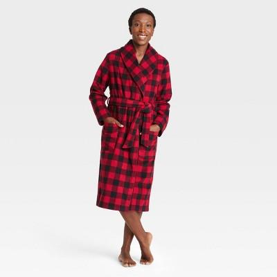 Adult Holiday Buffalo Check Plaid Fleece Matching Family Pajama Robe - Wondershop™ Red