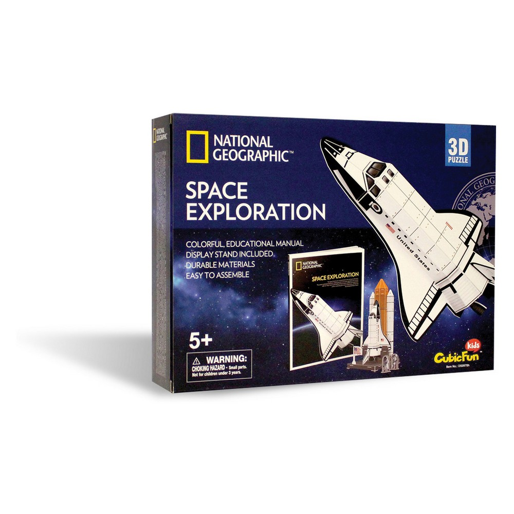 National Geographic Space Exploration 65pc 3D Puzzle Fun and educational National Geographic 3D puzzles that provide kids the ability to build one of six different 3D puzzles and then display and play with their creations. Kids can also read about each puzzle theme with an enclosed full color booklet (approximately 30 pages). All puzzles are made of sturdy, quality foam core and include easy to understand instructions. Ages 5 and up. Gender: Unisex.