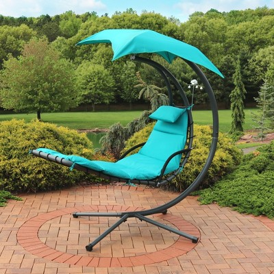 Hanging Chaise Lounge Chair with Canopy Umbrella - Teal - Sunnydaze Decor
