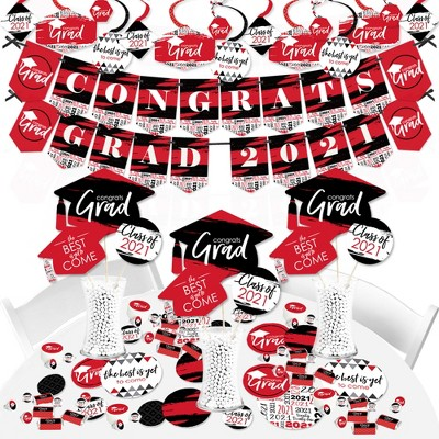 Big Dot of Happiness Red Grad - Best is Yet to Come - 2021 Red Graduation Party Supplies - Banner Decoration Kit - Fundle Bundle