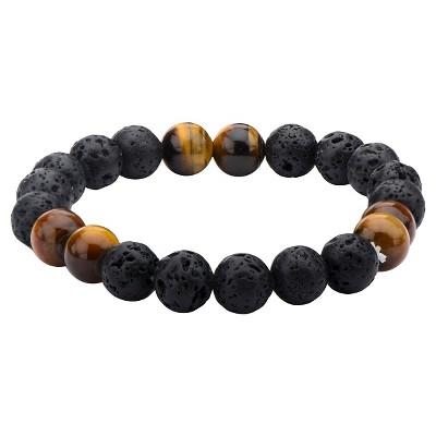 Men's Steel Art Black Lava and Brown Tiger Eye Beads Bracelet (8.5 )