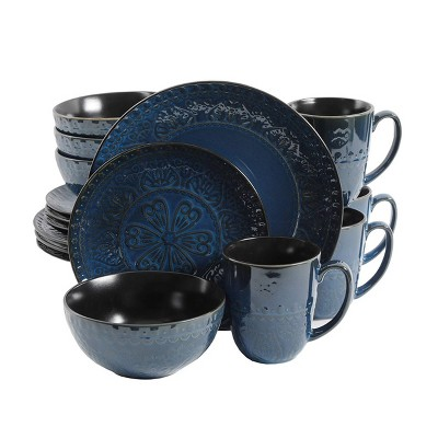 Gibson Elite 16pc Stoneware Milanto Dinnerware Set Blue