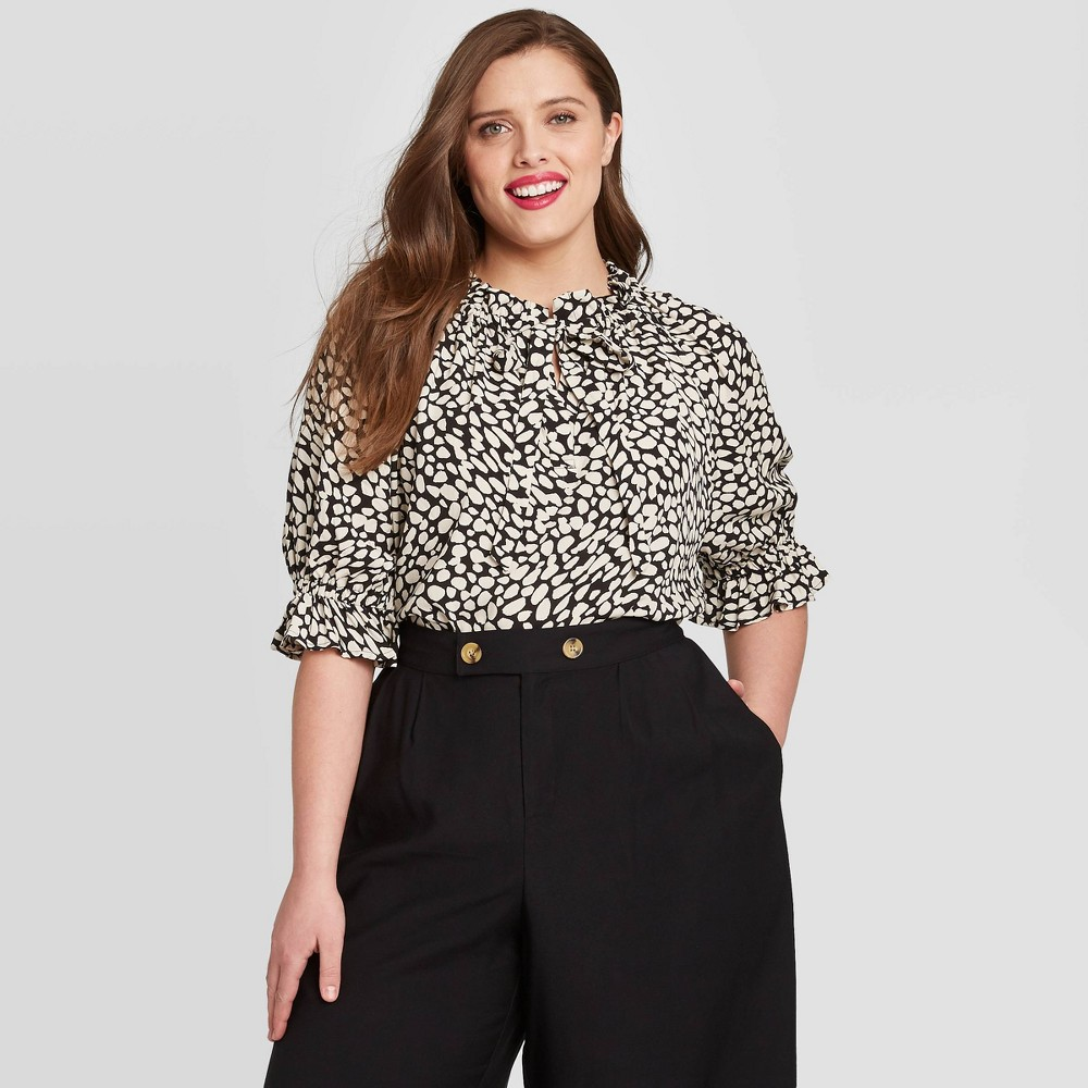 Women's Plus Size Leopard Print Elbow Sleeve Popover Blouse - Who What Wear Black 2X was $24.99 now $17.49 (30.0% off)