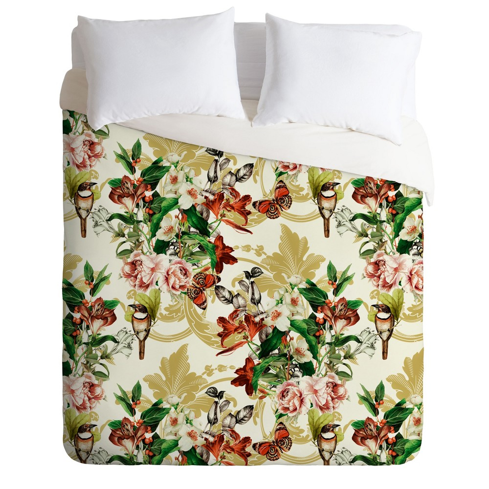 Twin/Twin XL Marta Barragan Camarasa Baroque Flower Bouquet Duvet Set Green - Deny Designs