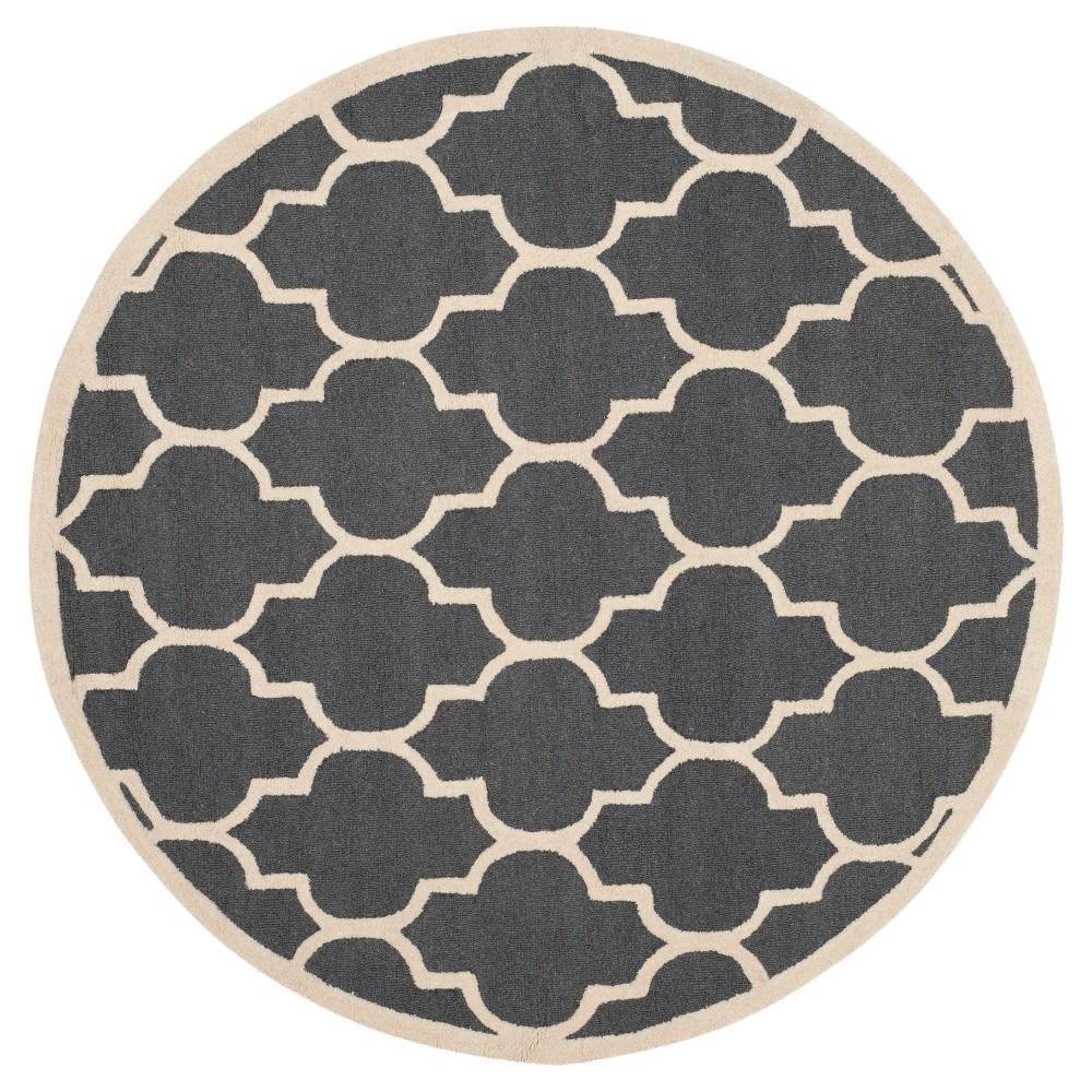 Image of 10' Geometric Area Rug Dark Gray/Ivory - Safavieh, Size: 10' ROUND